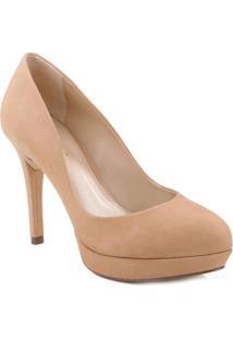 Sapato Meia Pata Em Couro Acamurçado- Bege- Salto: 1Arezzo & Co.