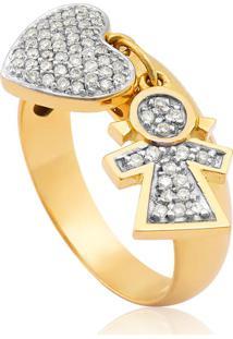 Anel De Ouro 18K De Coração E Menina Com Diamantes