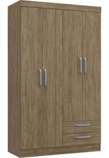 Guarda-Roupa Solteiro 4 Portas 2 Gavetas Ametista Decibal Moveis Wood