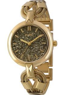 Kit Sombra + Relógio Euro Analógico Feminino Aço Diamante Negro Dourado - Eu203Aaf/K4C
