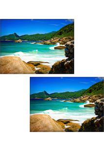 Jogo Americano Colours Creative Photo Decor - Praia Com Ondas Em Angra Dos Reis, Rj - 2 Peças