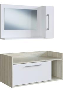 Conjunto De Balcão E Espelheira P/ Banheiro Bentes Branco/Nogal E Estilare Móveis