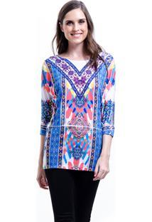 Blusa Estampada 101 Resort Wear Étnico Azul