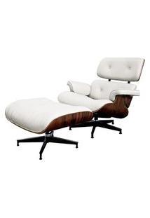 Poltrona Charles Eames Com Puff Couro Natural Branco - 34560 34560