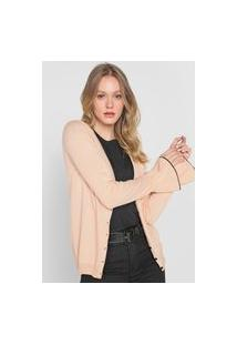 Cardigan Tricot Bobstore Liso Rosa