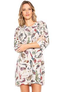 81cf9bc9f R$ 372,00. Dafiti Vestido Colcci Branco Decote Redondo Evasê Manga Longa  Ombro Curto Zíper Estampado Viscose