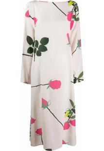 Bernadette Vestido De Seda Com Estampa De Rosas