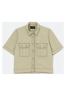 Camisa Em Sarja Com Bolsos Utilitários E Pespontos Contrastantes | Cortelle | Bege | P
