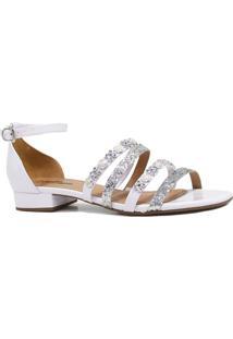 Sandália Zariff Shoes Rasteira Verniz Pedras Branco