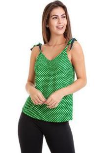 Blusa Kinara Alcinha De Amarrar Xadrez - Feminino-Verde
