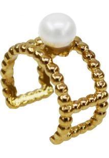 Brinco Piercing Pérola Solitária Banhado A Ouro 18K - Tricae