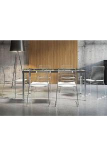 Mesa 328 Vidro Incolor Cromada Com 6 Cadeiras 1712 Branca Carraro