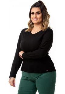 Blusa Básica Em Linho Com Elastano Plus Size Feminina - Feminino-Preto