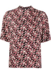 Calvin Klein Blusa Gola Alta Ampla Com Estampa Floral - Preto