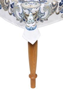 Toalha De Mesa Kacyumara Casa K Grega 150X150Cm Branca/Azul
