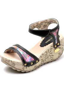 Sandalia Top Franca Shoes Betina Beker Plataforma Anabela Feminina - Feminino-Preto