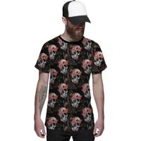 d2bfed27f Camiseta Di Nuevo Florida Com Caveiras Floral Skull Preta