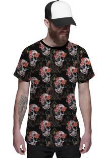 Camiseta Di Nuevo Florida Com Caveiras Floral Skull Preta