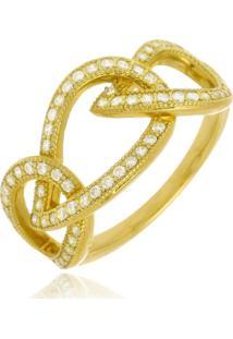 Anel Layla Cristal Di Capri Semi Jóias X Ouro Dourado - Tricae