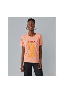 Amaro Feminino T-Shirt Elemento Fogo, Laranja