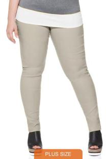 Calca Plus Size De Bengaline Basica Off White