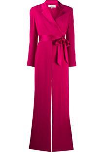 Dvf Diane Von Furstenberg Macacão Com Transpasse Frontal E Cinto - Rosa