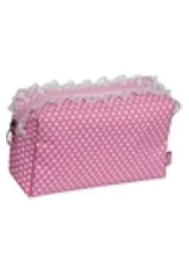 Necessaire Poliester Pois Pink C/ Renda Peq 9,5 X 4 X 5 Cm