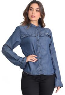 Camisa Zayon Com Babados Azul