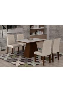 Conjunto De Mesa De Jantar Luna Com 4 Cadeiras Ane Ii Linho Castor E Branco