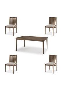 Conjunto Mesa Jantar Mule Tampo Verniz Avela 180Cm + 4 Cadeiras Brisa Encosto Ripado - 60511 Preto