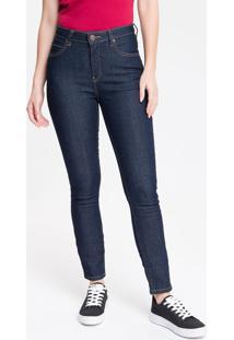Calça Jeans Feminina Five Pockets Skinny Destroyed Cintura Alta Azul Marinho Calvin Klein - 34