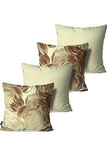 Kit Com 4 Capas Para Almofadas Pump Up Decorativas Folhas E Flores Fundo Bege 45X45Cm
