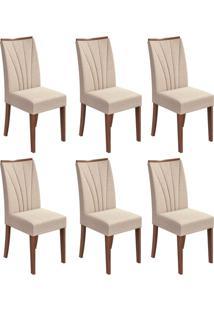 Conjunto Com 6 Cadeiras Apogeu Lll Imbuia E Bege