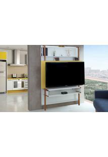 Painel Para Tv Branco Com Amarelo - Painel Tv Sala - Estante Para Tv Até 60 Polegadas Karl Woodinn - 134X25,5X180 Cm