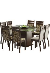 Conjunto De Mesa Com 8 Cadeiras Louise Tabaco, Floral Bege E Pérola