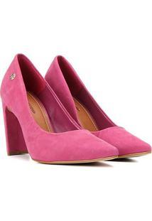 Scarpin Couro Bottero Salto Alto Nobuck - Feminino-Pink