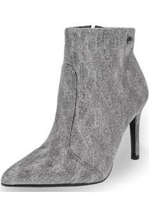 Bota Ankle Boot Vizzano Feminina - Feminino-Prata