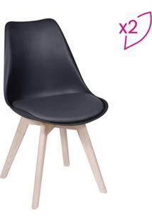 Jogo De Cadeiras Eames Modesti- Preto & Bege- 2Pã§S