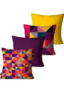 Kit Com 4 Capas Para Almofadas Pump Up Decorativas Estampa Geométrica Multicolorida 45X45Cm