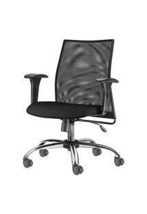 Cadeira Liss Com Bracos Assento Courino Preto Base Semi Arcada Cromada - 54661 Preto