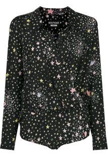 Boutique Moschino Body Com Estampa De Estrelas De Seda - Preto