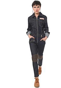 Macacão Jeans Ellus Skinny Utilitário Azul-Marinho