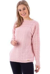 Blusa De Malha Gola Canoa Trança Feminina - Feminino-Rosa