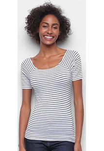 Blusa Hering Listrada Gola Canoa Feminina - Feminino-Branco+Preto