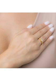 Anel Com Navete Cristal Oval E Detalhes Na Lateral Banhado Em Ouro 18K 22