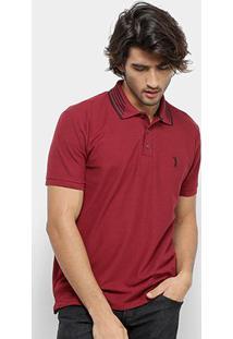 Camisa Polo Aleatory Gola Listrada Logo Bordado Masculina - Masculino-Vinho