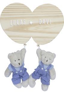 Enfeite Bexigas Irmãos Urso Gêmeos Meninos Maternidade Bebê Potinho De Mel - Kanui