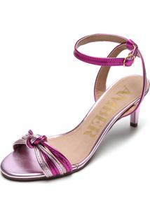 Sandália Amber Metalizada Nó Rosa