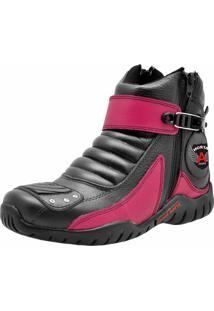 Bota Motoqueiro Cano Curto Em Couro Atron Shoes Preta/Pink