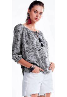 Blusa De Tecido De Viscose Estampada E Decote Com Amarração
